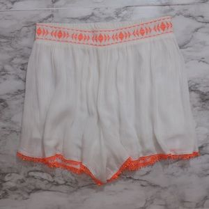 Lush | White Lined shorts with Orange embroidery